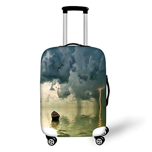 Travel Luggage Cover Suitcase Protector,Nature,Old Boat in The Ocean Near The Vivid Streak Bolt of Lightning with A Sea Gull Photo,Blue Green,for TravelL 25.9x37.8Inch