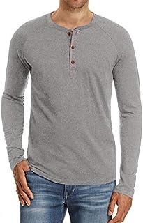 PEGENO Men's Casual Slim Fit Short Sleeve Henley T-shirts Cotton Shirts