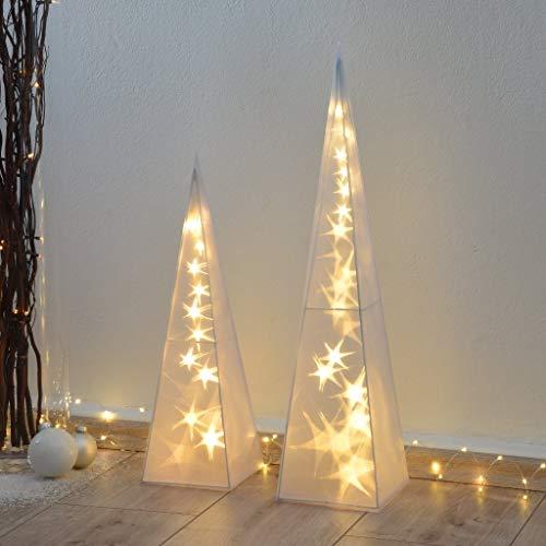 INtrenDU 3D Hologramm Weihnachtspyramiden im Set 60/45cm Weihnachtsbeleuchtung Weihnachtsdeko