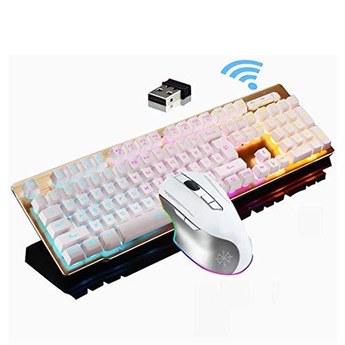 Tastatur und Maus-Kombination, drahtlose 2.4G-Technologie, LED-Regenbogen-Hintergrundbeleuchtung Multimedia ergonomischen USB-Gaming-Tastatur + 2400DPI wiederaufladbare 6-Taste Gaming-Maus,Weiß