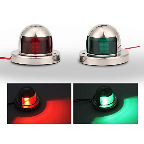 OurLeeme Sicherheitslicht für Boote / Navigation, Edelstahl, LED-Sicherheitssignal, grüne und rote Schleife, Seitenlicht, Starboard-Licht, 12 V, 2 Stück