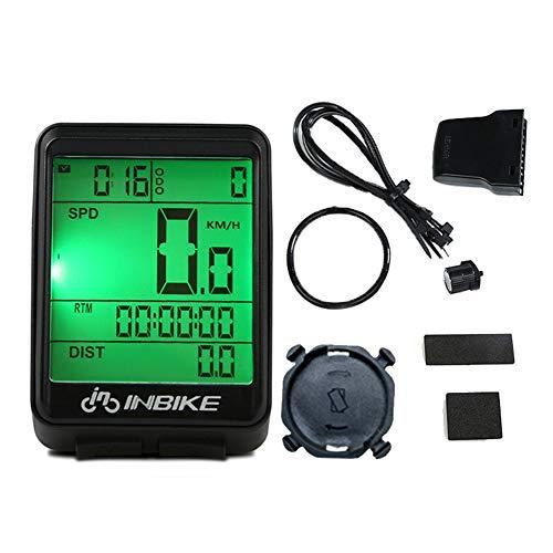 Computadora de bicicleta inalámbrica, Cuentakilómetros de ciclismo Velocímetro Impermeable Multifunción LCD Luz...