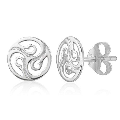 SUVANI Sterling Silver Cut Open Tiny Celtic Knots Symbol Round Circle Post Stud Unisex Earrings 7 mm