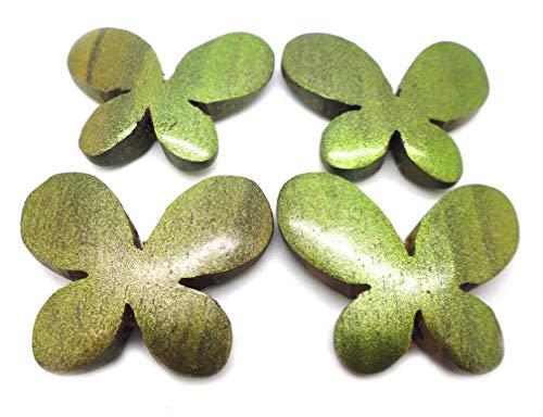 Tanglz – Juego de 4 cuentas grandes de madera con agujero, verde, para álbumes de recortes, joyas, decoración