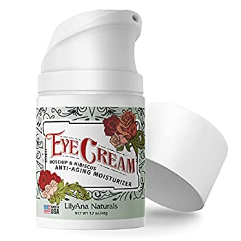 LilyAna Naturals Eye Cream - 2-Month Supply - Made in USA Eye Cream for Dark Circles and Puffiness Under Eye Cream Anti Aging Eye Cream Improve the look of Fine Lines and Wrinkles Rosehip and Hibiscus Botanicals - 1.7oz  1-Pack