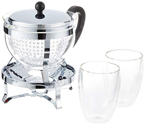 Bodum Chambord Set Teebereiter Rechaud 1,3 Liter Inlusive 2 Stück Doppelwand GläserPavina Teebereiter