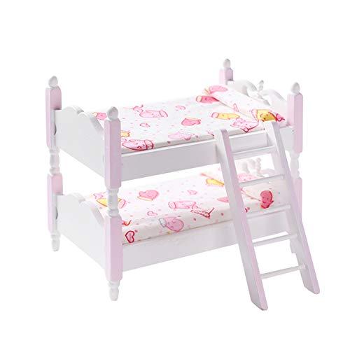 GRASARY Casa de muñecas litera multifuncional sólida escala 1:12 en miniatura Funiture Decor litera perfecta DIY casa de muñecas juguete set de regalo rosa