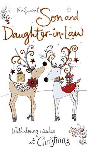Son & Daughter-In-Law Embellished Christmas Card Hand-Finished Champagne Cards