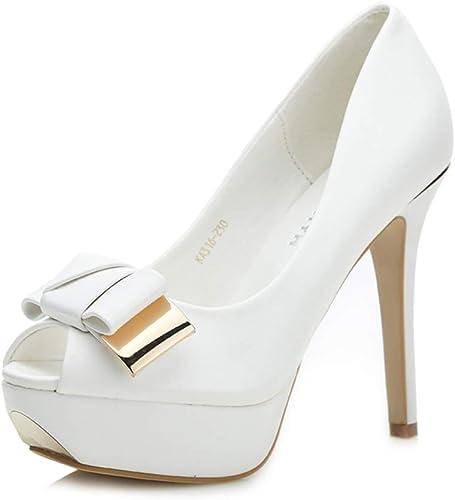Talons Talons Talons Hauts Femmes Bouche de Poisson Chaussures de Mode Talons Hauts Nouveaux Talons d'été Sexy Plateforme Chaussures Bow Sandals Sandales Sandales à Talons (Couleur   noir, Taille   36) 0f9