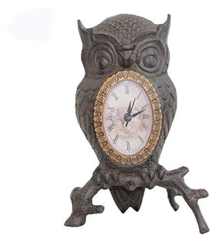 ZJSXIA Desktop Clock Decoración Retro Ornamento Artesanía Casa Sala de Estar Búho Ramificación Reloj Reloj de Pared