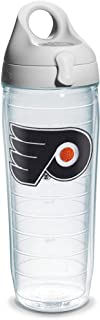"""Tervis """"NHL Phila Flyers"""" Water Bottle with Grey Lid, Emblem, 24 oz, Clear"""