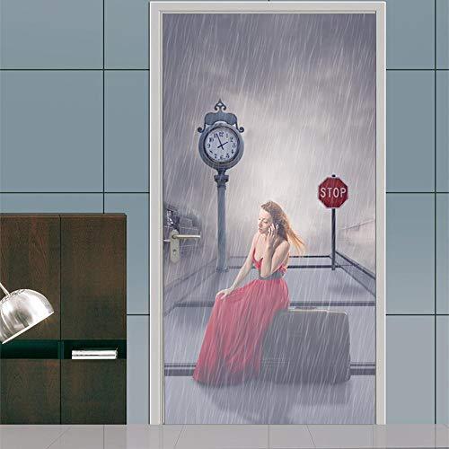 BXZGDJY 3D-deurstickers voor binnendeuren, platform, storm, oude boeken, bibliotheek, rek, boeken, antiek, kaarsen, rustiek behang, fotobehang, inclusief deurbehang, zelfklevend deurposter - fotobehang, deur 95X215CM