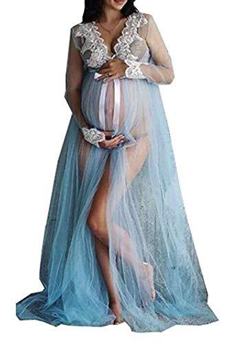 Mujeres Embarazadas de Malla Sexy Vestidos Maxi para la sesión de Fotos de la Boda del Partido de Noche