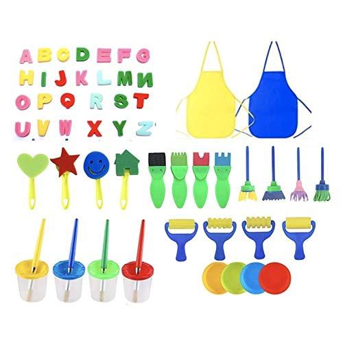 Zzlush Educational Spielzeug Kinder Lernen 56 stücke Zeichnung Spielzeug lustige kreative Spielzeug für Kinder DIY Blume Graffiti Sponge Kunst liefert Pinsel Dichtung malerei Tool