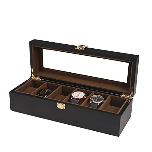 FIONAT Uhrenbox Schmuckkästchen Herren Damen Geschenk Reisen Mattschwarz lackiertes Holz Uhr Box Display Abnehmbare Aufbewahrungsbox Gelten Geschäft, Theke, Zuhause, 6 Matte Kaffeefarbe