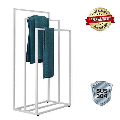 Handdoekhouder, staand roestvrij staal, 3 handdoeken, handdoekenrek, vrijstaand, zwart metaal, handdoekladder, staand zonder boren, kledingbutler dressoir