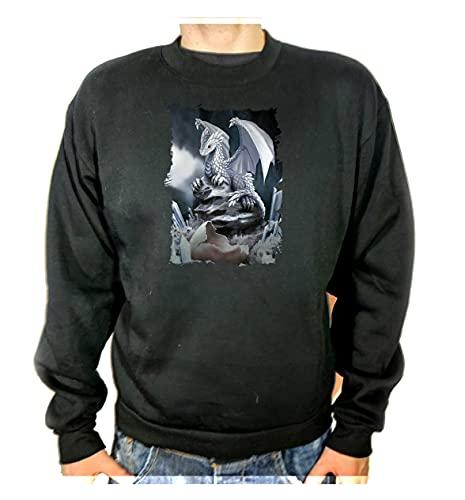 Sudadera Negra DRAGONCITO PEQUEÑO Dragon Fantasia Adulto Poliester algodón Sweatshirt
