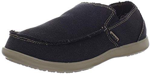 Crocs Men's Santa Cruz Loafer | Comfortable Men's Loafers | Slip On Shoes, Black/Khaki, 11 US Men