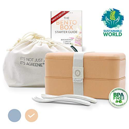 aGreenie die japanische Premium Bento Box - Coral - Eco Lunchbox – Brotdose für Kinder und Erwachsene - Unterteilung in 4 Fächer - auslaufsicher - BPA frei - inkl. Besteck, Tasche und gratis E-Book