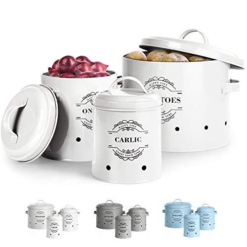 Virklyee® Set di barattoli per Patate, Aglio, Cipolla Set da 3 Conservazione Aglio e cipolle Contenitore per Patate, Frutta e Verdura in Metallo per la Cucina (Bianca)