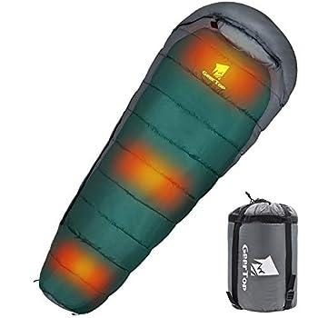 GEERTOP Sac de couchage de camping portable chauffant électrique, ultra léger et compact 4 saisons ? équipement de survie pour randonnée en plein air