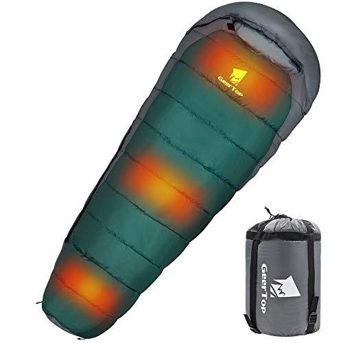 GEERTOP - Saco de dormir portátil para acampada eléctrico con calefacción, ultraligero, compacto, 4 estaciones, equipamiento de supervivencia para senderismo al aire libre