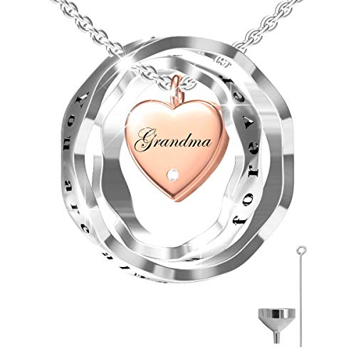S925 Sterling Silver Keepsake Jewelry Cremation Pendant Urn Necklace For Ashes - You Are Always In My Heart I Love You Forever (Grandma)