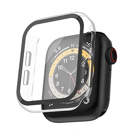 HANKN Tempered Glass Screen Protector Case for Apple Watch Series 3 2 1 38mm, Hard PC 9H Full Coverage Shock-Proof Cover Iwatch Bumper (38mm, Clear)
