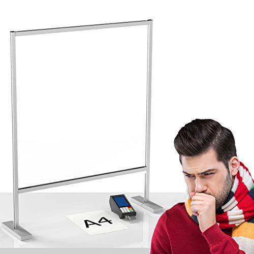 Panteer ® Spuckschutz Thekenaufsatz - 80x100cm - 4mm ESG Glas - Aluminium Rahmen - Premium Qualität - Made in Germany (ESG Sicherheitsglas, gr. Durchreiche)