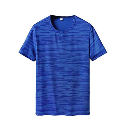 Camisetas Hombre Manga Corta Verano 2019 Nuevo SHOBDW Cuello Redondo Camisetas Hombre Deporte Gym Fitness Ropa de Secado Rapido Camisetas Tallas Grandes Venta de Liquidación L-6XL(Azul,6XL)