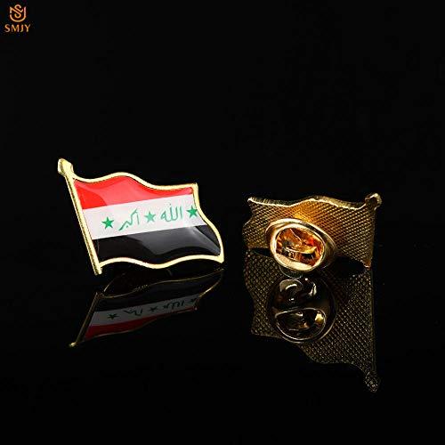SFDGBTH Irak 19x21mm Mini Pin de Bandera esmaltada Metal Chapado en Oro Países asiáticos Banner Cuello de Corbata Hebilla de Seguridad Pin Broche Insignia Joyería