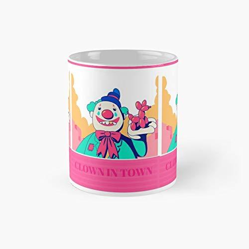 Taza clsica con diseo de payaso en la ciudad, el mejor regalo divertido tazas de caf de 325 ml