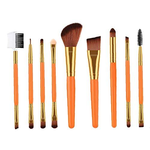 Ensemble de pinceaux de maquillage pour la Fondation Blending fard à joues Ombre à paupières Eyeliner visage avec fibres synthétiques Soies Poignées en bois Brosses cosmétiques orange 9Pcs
