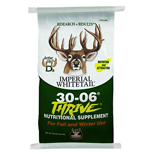 Whitetail Institute 30-06 Mineral and Vitamin Supplement for Deer Food Plots, Provides Antler-Building Nutrition and Attracts Deer, Thrive (Fall and Winter), 20 lbs