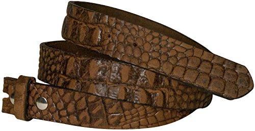 Fronhofer Ceinture échangeable, sangle de rechange de 3 cm effet croco, cuir de vachette véritable 17824, Taille:Taille 90 cm, Couleur:Cognac