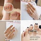 YADOCA 24 PCS Open Toe Ring Set pour Les Femmes Filles Divers Types Knuckle Ring Vintage Pied Bijoux Rétro Creux Flowe Bague Réglable