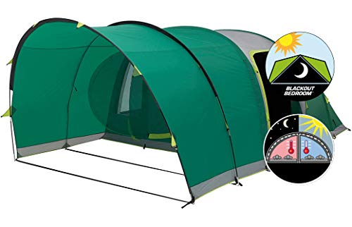 Coleman Inflatable Tent 4 Man Valdes 4, Camping Tunnel Tent with Air Poles, Air Tent Four Man, Family Blow Up Tent with Blackout Bedroom Technology, 100 % Waterproof with Sewn in Groundsheet
