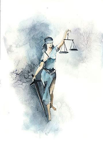 Rahmen-Kunst Keilrahmen-Bild – Sophia Rodionov: Justice II Leinwandbild Justitia Recht Gerechtigkeit Aquarell modern