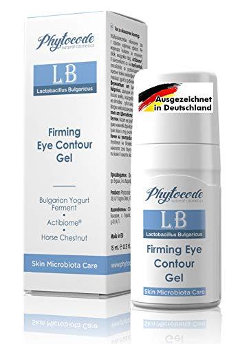 GOLD MEDAL SIEGER – Innovative Augencreme gegen Falten – Antialterung Augenserum mit Jojobaöl, Rosskastanien, Vitamin E & B3 – Anti aging Augengel Männer & Frauen – Phytocode Naturkosmetik 15 ml