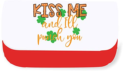 Kiss me and I'll Punch You Shamrocks Clutch-Style Pencil case - Red