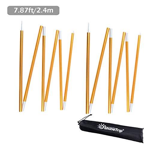 TRIWONDER Tarp Pole Aluminiumlegierung Zeltstangen Rod Ersatz für Tarp Shelter Markise Camping Pole Stützstange - Pack von 2 (Gold (7.84ft))
