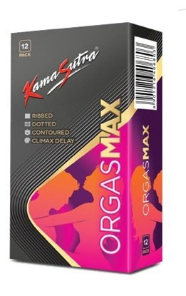 KAMA SUTRA Luxury Series Condoms for Men , Orgasmax (4in1) Condoms , Ribbed, Dotted, Contoured, and Climax Delay, 12 Pieces