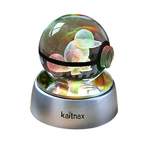 Kaitnax 3D-Kristall-Kugel-Lampe, Lasergravur, Bild in der Kugel, LED-Farbwechsel-Sockel Schildkröte türkis