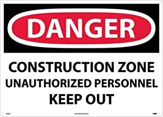 """NMC D493AD OSHA Sign, Legend """"DANGER - CONSTRUCTION ZONE UNAUTHORIZED PERSONNEL KEEP OUT"""", 28"""" Length x 20"""" Height, Alumin..."""