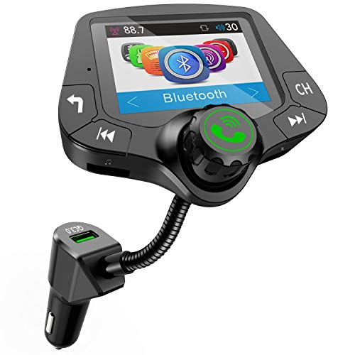 LoHi Bluetooth FM Transmitter for Car, Wireless Radio Adapter Hands-Free Kit 2.0'' Color User Interface Display, with QC3.0 Fast Charging, 4 Music Playing, 6 EQ Mode, AUX Input/Output