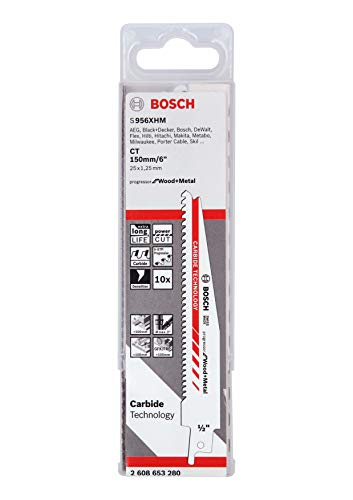 Bosch Professional 10 Stück Säbelsägeblatt S 956 XHM Progressor for Wood and Metal (Länge 150 mm, Zubehör Säbelsäge)