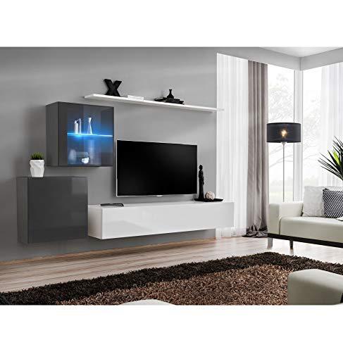 AC-Déco Ensemble Mural - Switch XV - 2 Vitrines - 1 Banc TV - 2 étagères - Blanc Et Graphite - Modèle 2