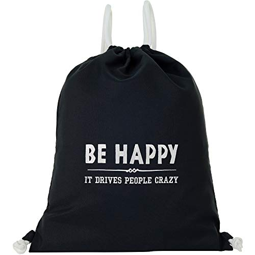 Bolsa de deporte impermeable negra con texto en inglés 'Be Happy - IT Drives People Crazy Gymsack Gym Bag Hipster bolsa resistente bolsa de deporte mochila mujer niña motivación