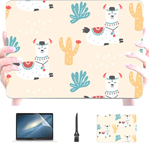 Engree MacBook Pro 13 Inch Case 2015 2014 2013 end 2012 A1502 A1425, Different Cute Cartoon Lama Alpaca Pattern Hard Shell Case Cover for Old Version Apple Mac Pro Retina 13