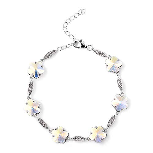 J Francis - Crystal from Swarovski White Crystal, Simulated Mystic White Crystal Floral Bracelet Size 7 with 1 inch Extender in Rhodium Overlay Sterling Silver